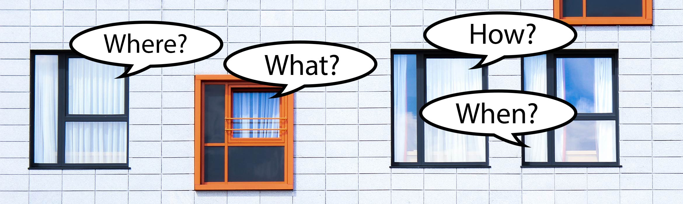 Front elevation of white clad apartment block with windows with comic style speech bubbles asking How? Where? What? Why?