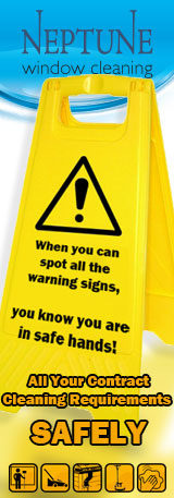 Yellow warning sign stating that if you can spot all the warning signs, you know you are in safe hands. All your contract cleaning requirements, safely.